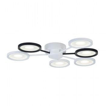 Griestu lustra Maytoni Modern baltā un melnā krāsā ar iestrādātām LED diodēm