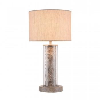 Galda lampa Maytoni Elegant pelēkā krāsā ar auduma abažūru