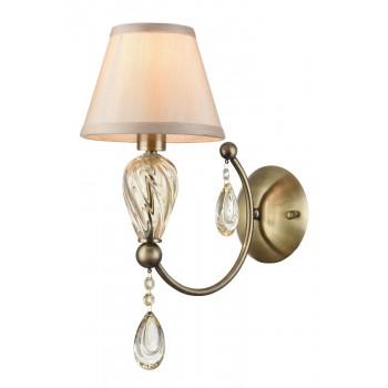 Sienas lampa Maytoni Royal Classic bronzas krāsā ar baltu abažūru un kristāliem