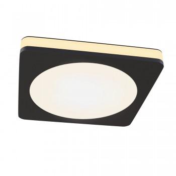 Griestu lampa Maytoni Downlight melnā krāsā ar baltu kupolu un LED diodēm